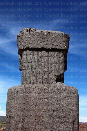 Rear view of head of Ponce monolith showing braided hair carvings, Tiwanaku, Bolivia