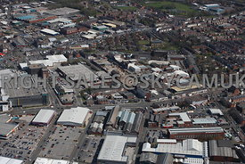 Bury aerial photograph looking across South Cross Street industrial sites towards Rochdale Road and other Industrial areas in York Street and Foundry Street North
