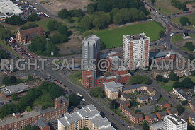 Birmingham aerial photographs of Student apartments in the area of Bristol road and Belgrave and Middleway Interchange