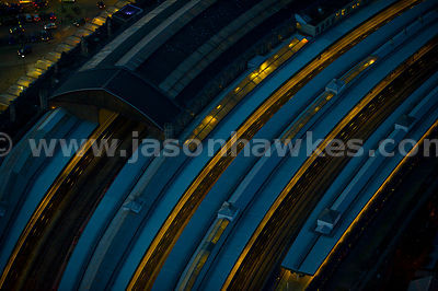 Aerial view of Bristol Temple Meads Rail Station at night