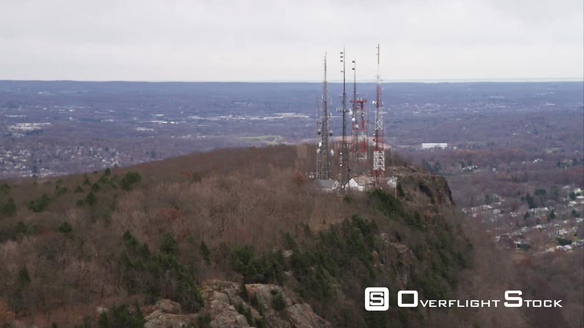 Past Telecommunication Towers on a Rugged Hill North of New Haven, Connecticut. Shot in November