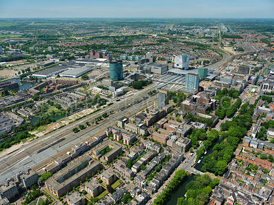 Redevelopment and construction of the Central Station Area seen from the south east  with the Jaarbeurs in the background, Utrecht, the Netherlands