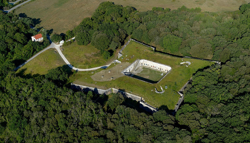 Aerial view of Fort Liédot, Ile-d'Aix, Charente-Maritime, France, July 2017.