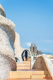 Rooftop of Casa Mila by Gaudi and Sagrada Familia, Barcelona, Spain
