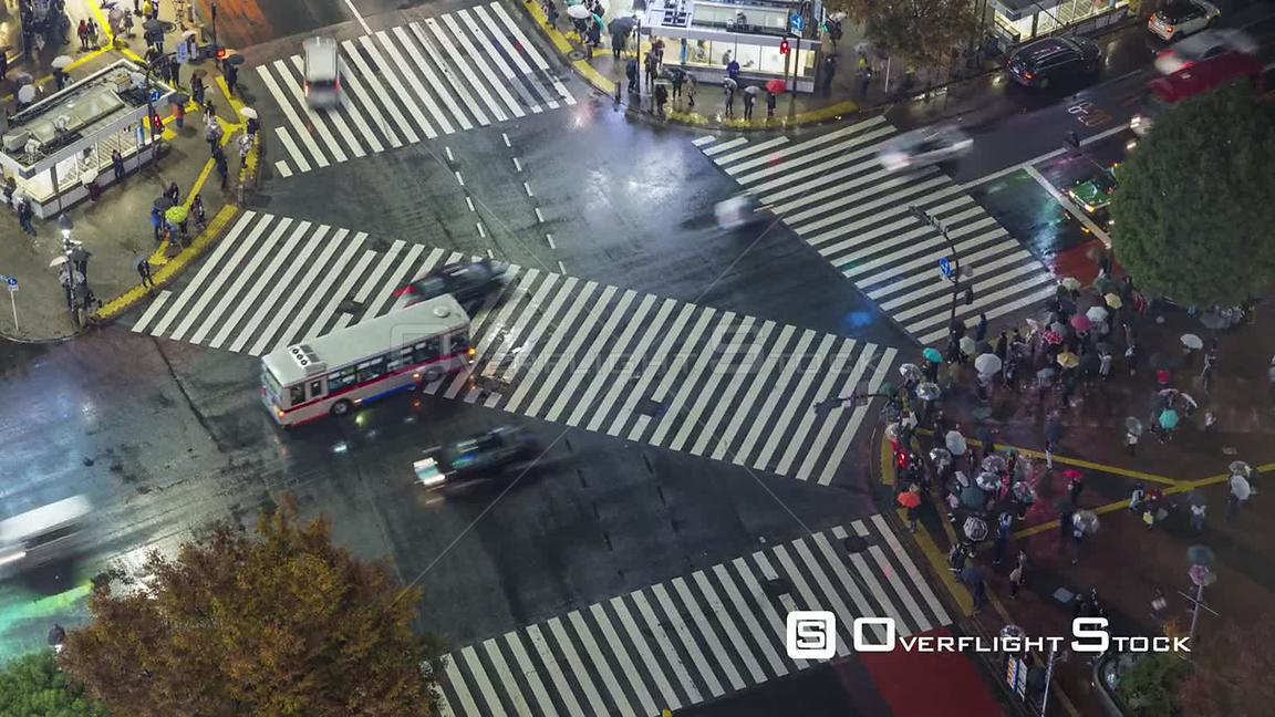 Timelapse of crowds of people crossing the centre of Shibuya shopping and entertainment district at night, Tokyo, Japan, November 2017.