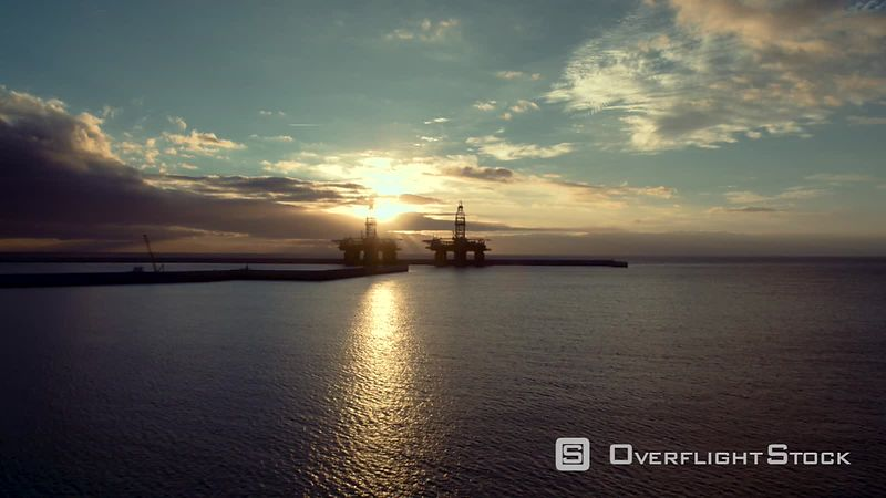 Oil Rig during sunrise filmed by drone, Tenerife South, La Caleta, Canary Islands