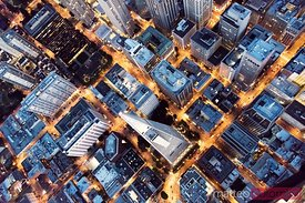 Overhead aerial of  Transamerica pyramid at night, San Francisco, USA