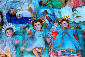 Baby Jesus figures for nativity scenes for sale in Christmas market, Bolivia