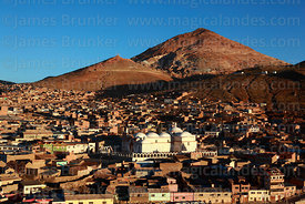 View of Cerro Rico and San Benito church, Potosí, Bolivia