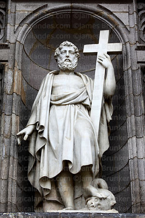 Statue of Saint on main entrance facade of cathedral, Lima, Peru