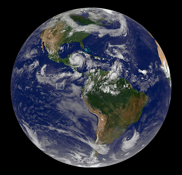 EARTH Americas -- 20 Aug 2007 -- This view of the Earth shows the American continent and Hurricane Dean.