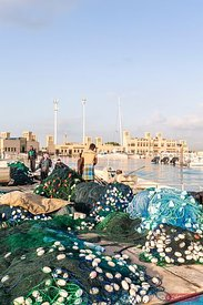 United Arab Emirates, Dubai. Small harbour with fishing boats
