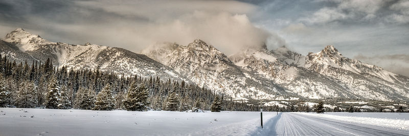 Grand Teton National Park main road in Winter.  Jackson, Wyoming