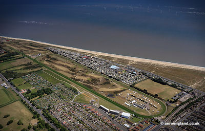 aerial photograph of Great Yarmouth Racecourse Great Yarmouth Norfolk England UK
