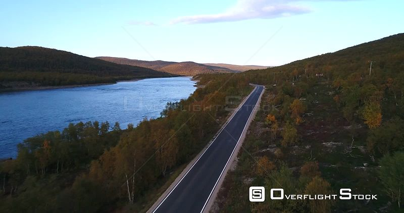 Autumn Color Road, Aerial View Over Road 970 the Tenontie, Near Tenojoki River the Border of Norway and Utsjoki, on a Sunny Evening Dawn, in Lapland, Finland
