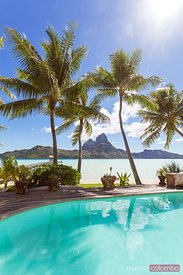 Swimming pool of a luxury resort, Bora Bora, French Polynesia