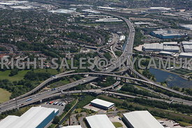 Birmingham high level aerial photograph of Gravelly Hill Spaghetti Junction M6 motorway