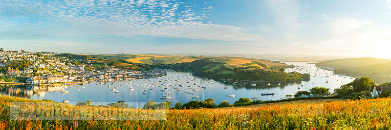 Panoramic view of Salcombe and the Kingsbridge Estuary at dawn (BP6300)