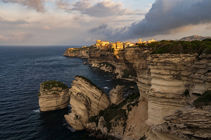 View of the Citadel of Bonifacio and the Cliffs at Sunrise