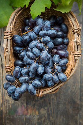 Bunch of blue grapes in basket