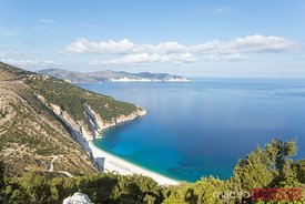 Famous Myrtos beach from overlook, Kefalonia, Greek Islands, Greece
