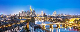 Panoramic of skyline at night, Frankfurt, Germany