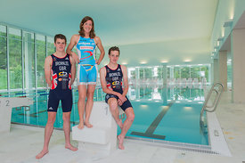 Nicola Spirig, Alistair and Johnny Brownlee, Triathlon Olympic Medalists in London 2012 enjoy the training facility OVAVERVA in St.Moritz,