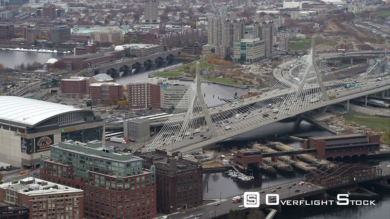 Over Leonard P. Zakim Bunker Hill Memorial Bridge on the Charles River, Boston. Shot in November