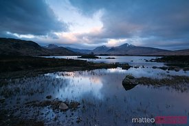 Sunrise over loch near Rannoch Moor Scotland UK