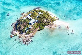 Aerial view of Wadigi island and its resort, Mamanucas islands, Fiji