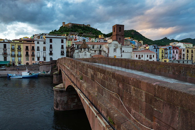 The Coastal Town of Bosa at Sunset