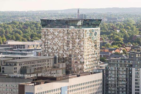 Aerial photograph of Birmingham City Centre, England. The Cube