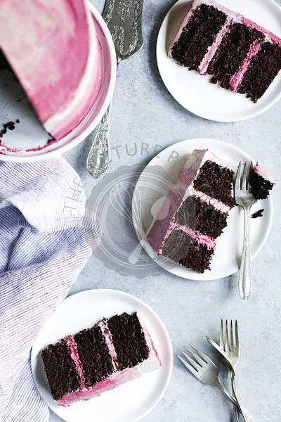 Pink ombre layer cake