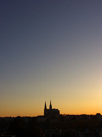 Cathedral at twilight, Chartres
