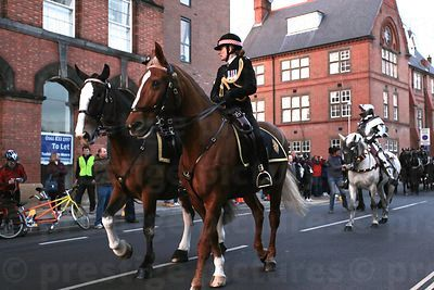 City of London Mounted Police Escort Leading the Cortege away from Leicester Cathedral
