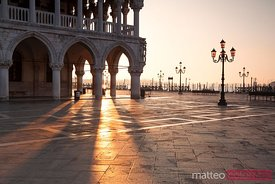 Sunrise at ducal palace in Venice