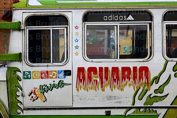 Detail of decoration on side of a micro bus, El Alto, Bolivia