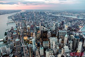 Aerial of Manhattan skyline at sunset, New York city, USA