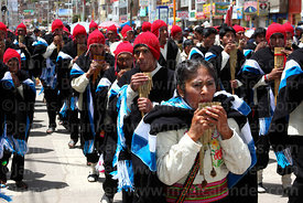 Sicuris group playing sicus or panpipes, Virgen de la Candelaria festival, Puno, Peru