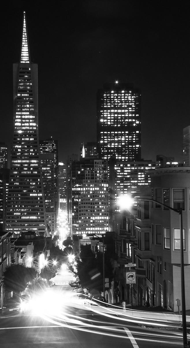 View from Telegraph Hill at night.  San Francisco, California