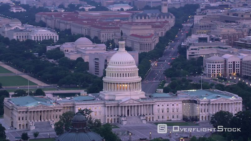 Washington, D.C. Aerial view of Capitol Building and Pennsylvania Avenue.  Shot with Cineflex and RED EpicW Helium.