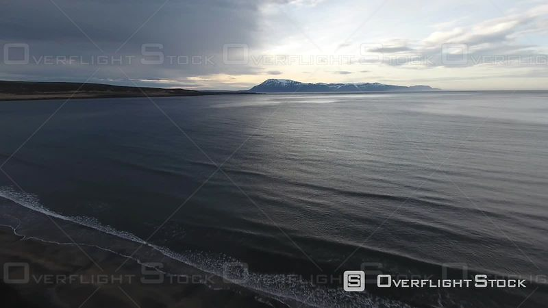 Aerial View of a Black Sand Beach, Filmed by Drone Filmed by Drone, Iceland