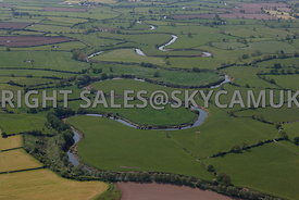 River Dee aerial photograph showing a view looking down the course of the River Dee meandering across the Cheshire countryside