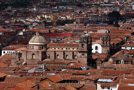 View of historic centre and Compañia de Jesus church, Cusco, Peru