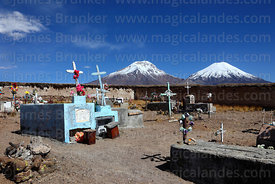 Caquena cemetery, Payachatas volcanos in background, Region XV, Chile