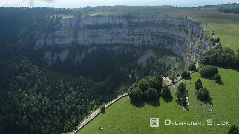 Creux Du Van Natural Rocky Cirque Filmed by Drone, Neuchatel, Switzerland