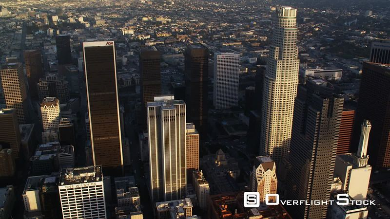 Past downtown Los Angeles skyscrapers. Shot in October