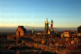 Cemetery at sunset, Socaire, Region II, Chile