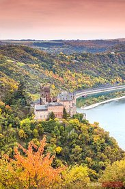 Burg Katz castle and river Rhine in autumn, Rhineland-Palatinate, Germany