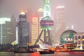 Oriental pearl tower and skyscrapers at night, Shanghai, China